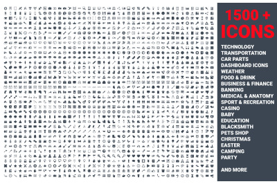 Set of 1500 icons, for web, internet, mobile apps, interface design