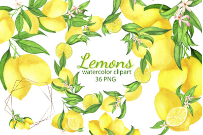 Watercolor Lemon Clipart, Lemon Frame, Lemon Wreath, Summer