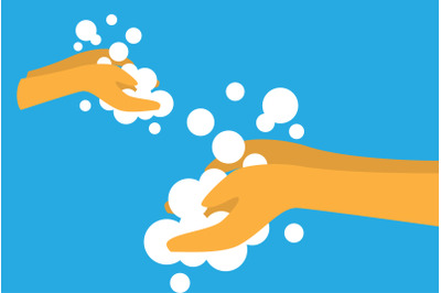 Sanitizing with washing your hands illustration vector design background icon in flat style. Hygiene concept