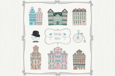 Set of Vintage Old Styled Hand Drawn Doodle Houses Icons.