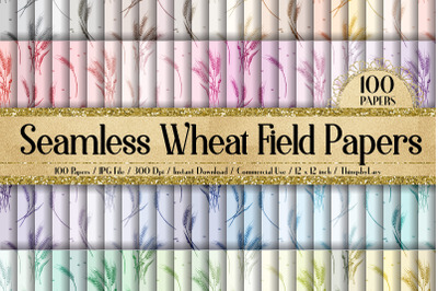 100 Seamless Wheat Field Barley Grain Organic Digital Papers