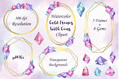 Watercolor gold frames with gems, crystals clipart, PNG files