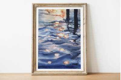 Sunset on the Water - Watercolor Painting