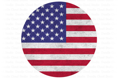 USA American Flag Circle PNG, 4th of July Png, Memorial Day Png.