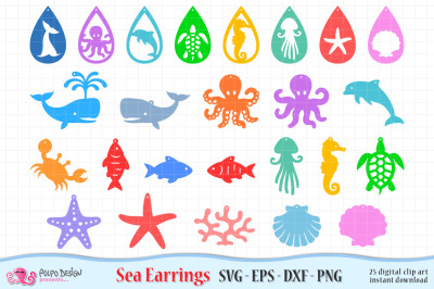 Sea Earrings SVG, Eps, Dxf and Png