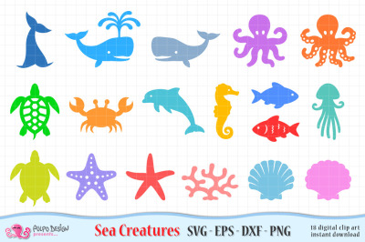 Sea Creatures SVG, Eps, Dxf and Png