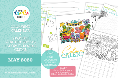 May Coloring Calendar + doodle guides