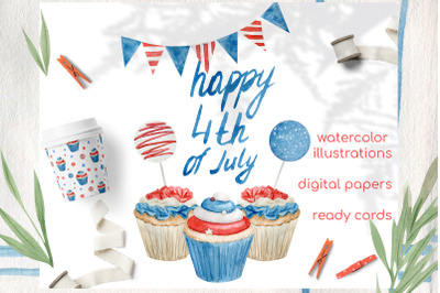 Watercolor 4th of july cupcakes clipart set