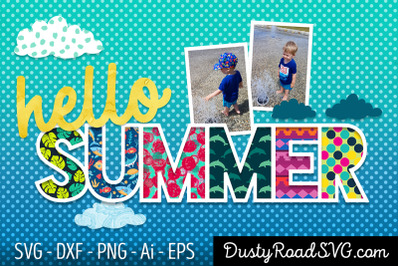 HELLO SUMMER - Scrapbook - cut file - svg png eps dxf