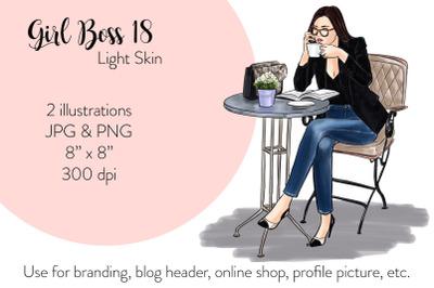 Watercolor FashionIllustration -Girl boss 18 - Light Skin