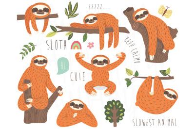 Cute Sloth Vector Collection Set