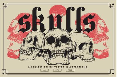 Vector Skulls | Vintage Illustration