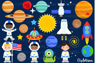 Astronauts in Space Clip Art
