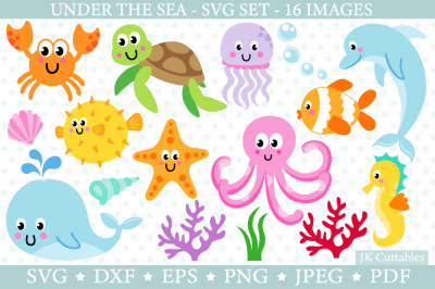 Under The Sea SVG DXF PNG EPS JPEG cut files Ocean Animals