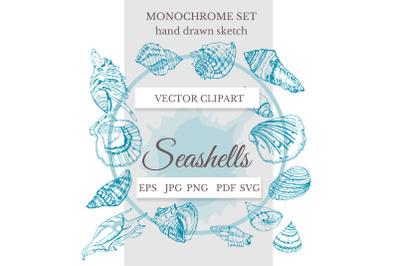 Hand drawn seashell decor. Summer SVG bundle. Line art.