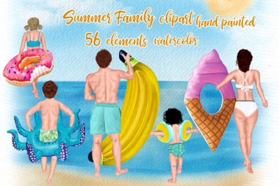 Family clipart, Summer clipart, Beach clipart, Dad Mom Child