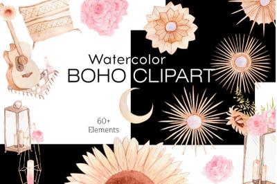 Watercolor Boho Clipart