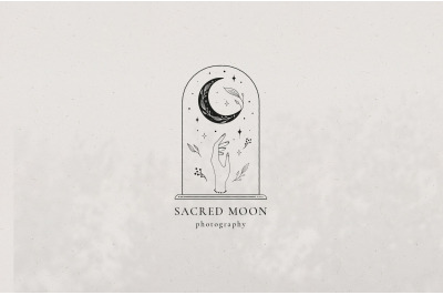 Sacred Moon Logo Templates Kit. Spiritual Logo. Seamless Pattern.