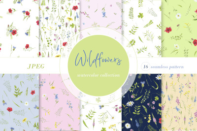 Watercolor flower seamless pattern. Wildflowers, plants. Digital wate