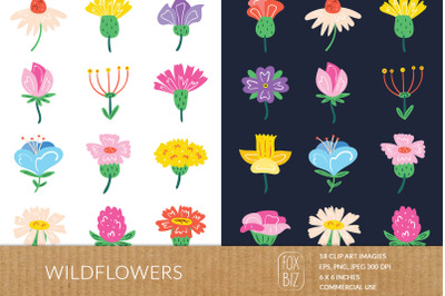 Wildflowers clipart. Floral prints. Nature, blooming flowers, botanic.