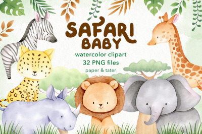 Watercolor Safari Baby Animals Clipart Graphics