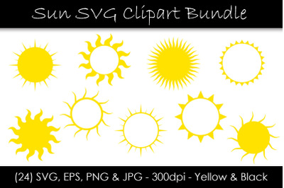 Sun SVG Bundle - Sun Shape Clip Art