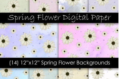 Spring Flower Digital Paper - Pastel Flower Patterns