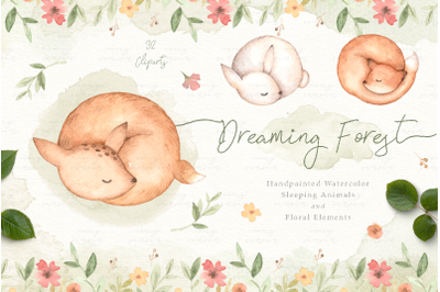 Dreaming Forest Watercolor Clip Arts