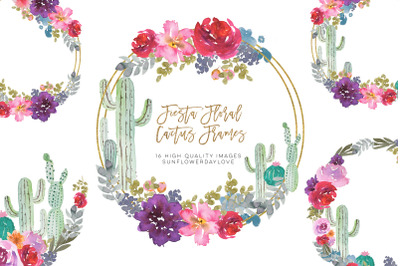 Mexican cactus floral wreath clip art, watercolor cacti frame clipart,
