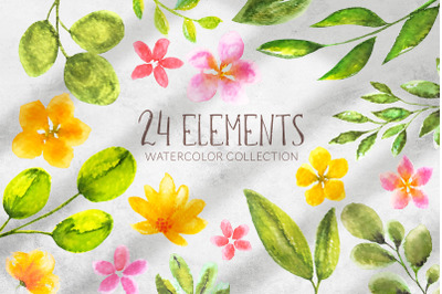 24 watercolor elements