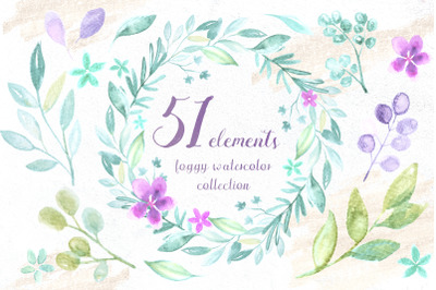 51 foggy watercolor elements