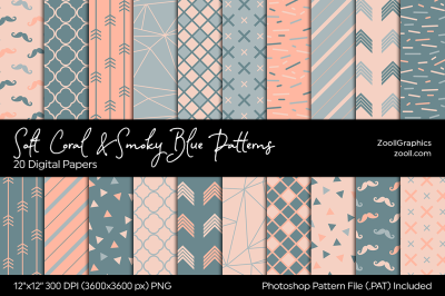 Soft Coral & Smoky Blue Digital Papers