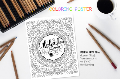 Aloha Summer - Coloring Page