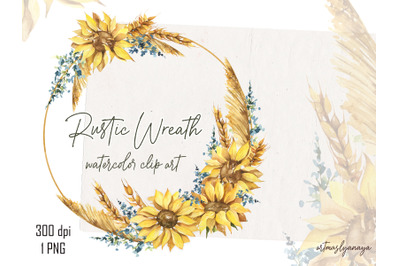 Watercolor Rustic Wreath of sunflower, pampas grass, wheat and flowers