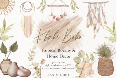 Boho Tropical Graphic. Flowers, Leaves, Home Decor