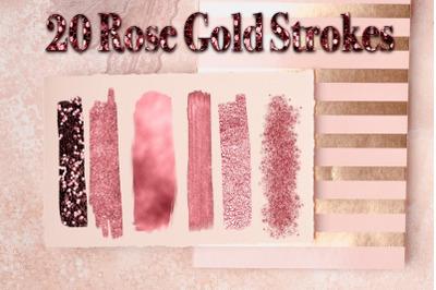 Pink Gold Brush Strokes