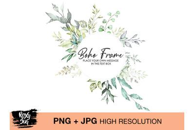 Boho Frame Watercolor Wreath, Bohemian Boho Nude, neutral leaves