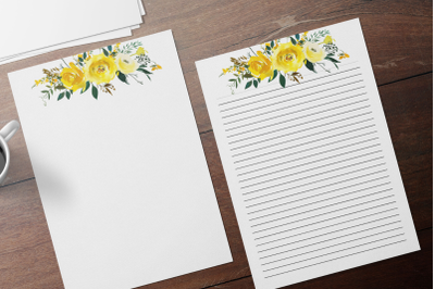 Yellow Floral Printable Stationery, Lined Digital Note Paper