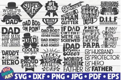 Dad Quotes SVG Bundle | 23 designs