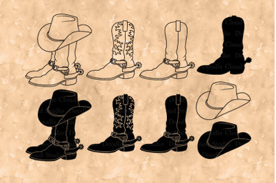 Cowboy Boot SVG, Cowboy Hat SVG, Cowboy Hat Boots Clipart.