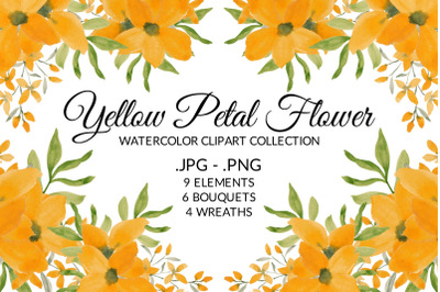 Yellow Petal Flower Watercolor Clipart Collection