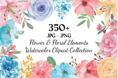 357 Flower and Floral Watercolor Illustration Clip Art