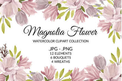 Magnolia Flower Watercolor Clipart Collection