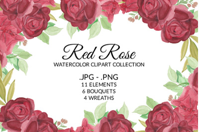 Red Rose Flower Watercolor Clipart Collection