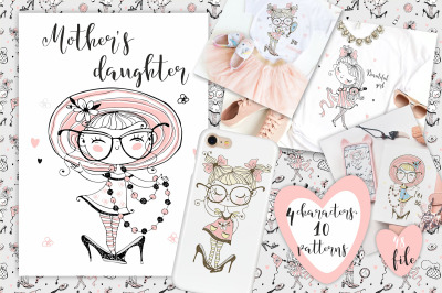 Mother's Daughter Digital Cliparts with Cute Girls Svg Png