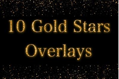 Gold Glitter Star Overlays