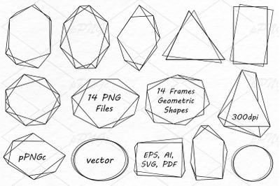 Geometric frames clipart, Crystal shapes, Polygonal frame