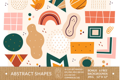 Abstract shapes clipart. Digital prints. Hand drawn vector.