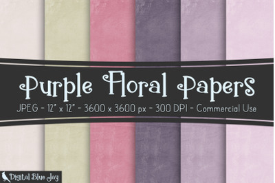 Purple Floral Digital Papers