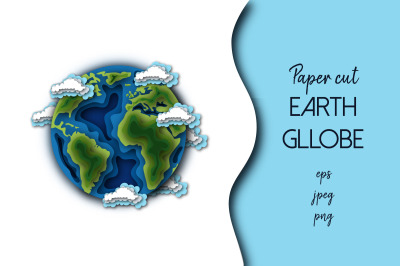 Paper cut Earth Globe